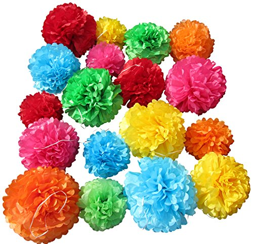 Tissue Paper Pom Poms - Set of 18 Pcs - Pre Folded Paper Decoration for Party Wedding Birthday Bridal Baby Showers Nursery Anniversary - 10 12 14 Inch - 6 Mixed Colors