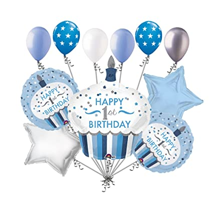 Image Unavailable Not Available For Color 11 Pc 1st Cupcake Happy Birthday Balloon Bouquet Party Decoration Baby One Boy