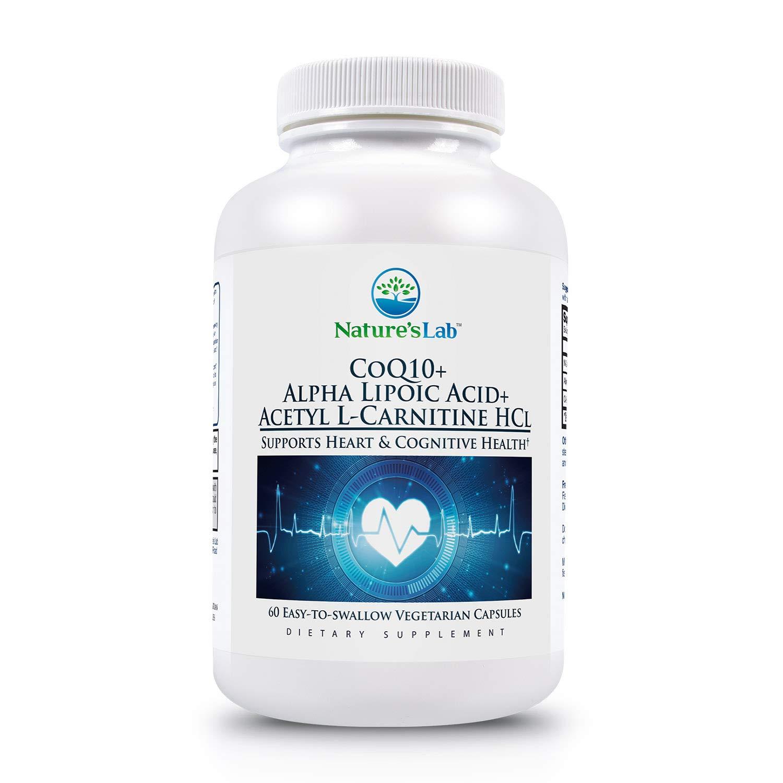Nature's Lab CoQ10 Alpha Lipoic Acid Acetyl L-Carnitine HCL Supplement, 60 Count