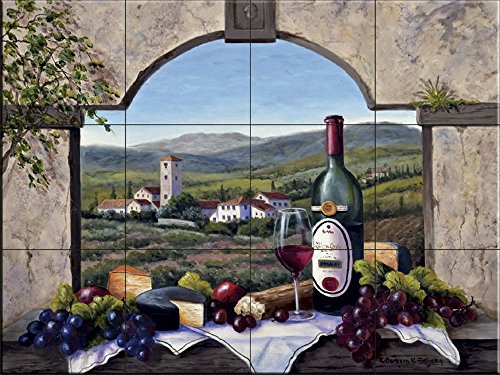 Mural Art Accent Tile Ceramic - Ceramic Tile Mural - A Tuscany Vista- by Barbara Felisky - Kitchen backsplash/Bathroom Shower