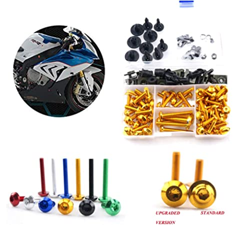 Gold WYNMOTO US Stock Full Motorcycle Fairing Aluminum Fasteners Bolt Kits For Suzuki GSXR600 GSXR750 K4 2004 2005 gsxr-600 gsxr-750 04 05 Bodywork Screws Hardware Clips