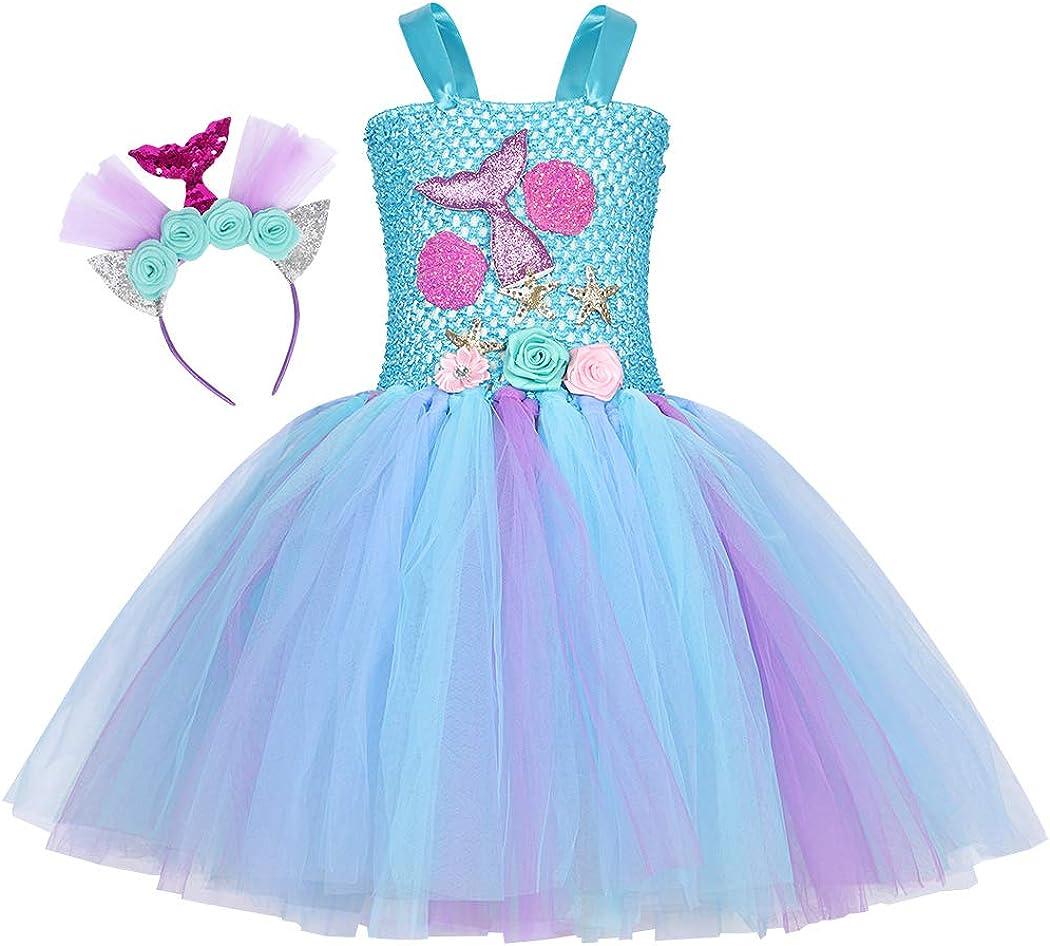 AmzBarley Mermaid Tutu Dress Girls Halloween Birthday Party Outfits Mermaid Dress Up Clothes