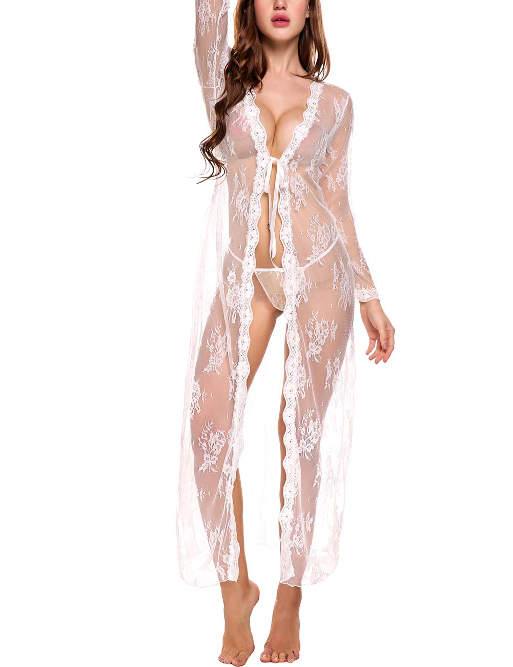 Sleepwear Dress Summer Sexy Bath Robe See Through Nightgown Ladies Skirt Lingerie Night Robe,2_white Summer Women Cardigan,XX-Large by Lomon