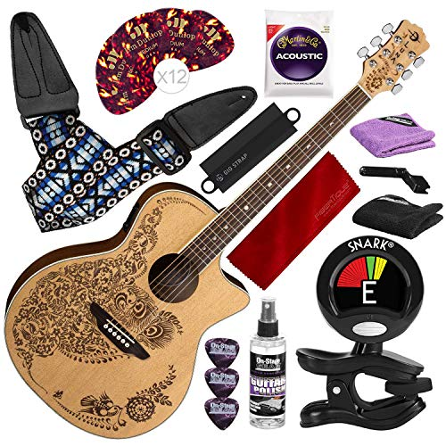 Luna Henna Oasis Select Spruce Acoustic/Electric Guitar, Open Pore Natural with Guitar Strap & Massaging Shoulder Strap Attachment Complete Guitar Accessory Bundle