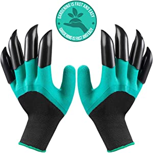 Garden Gloves With Claws Universal Size 8 Abs Plastic Claws On Left And Right Hands Green Genie Garden Gloves Quick & Easy To Dig Without Tools - Garden Claw Gloves Women Claw Gloves Gardening for All