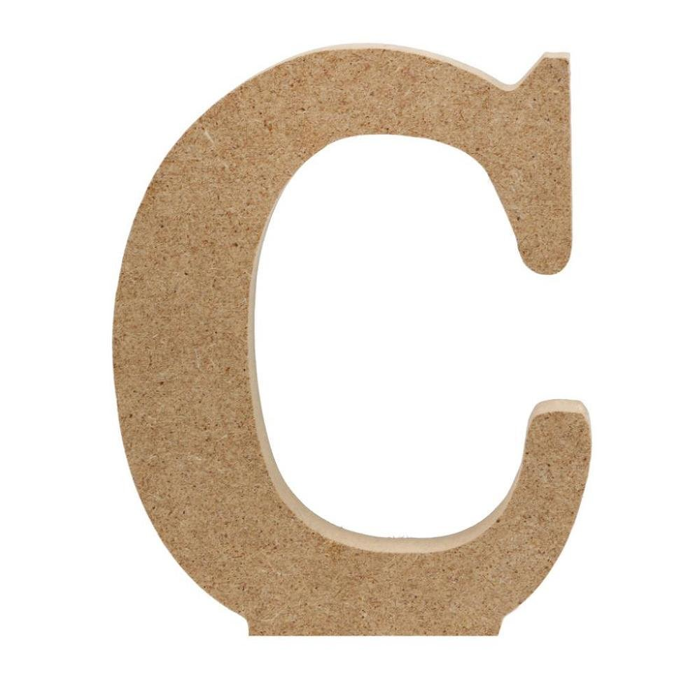 FTXJ A-&-Z Letters/0-&-9 3D Wooden Alphabet Decorations Wedding Birthday Party Banquet Decor (C, Gold)