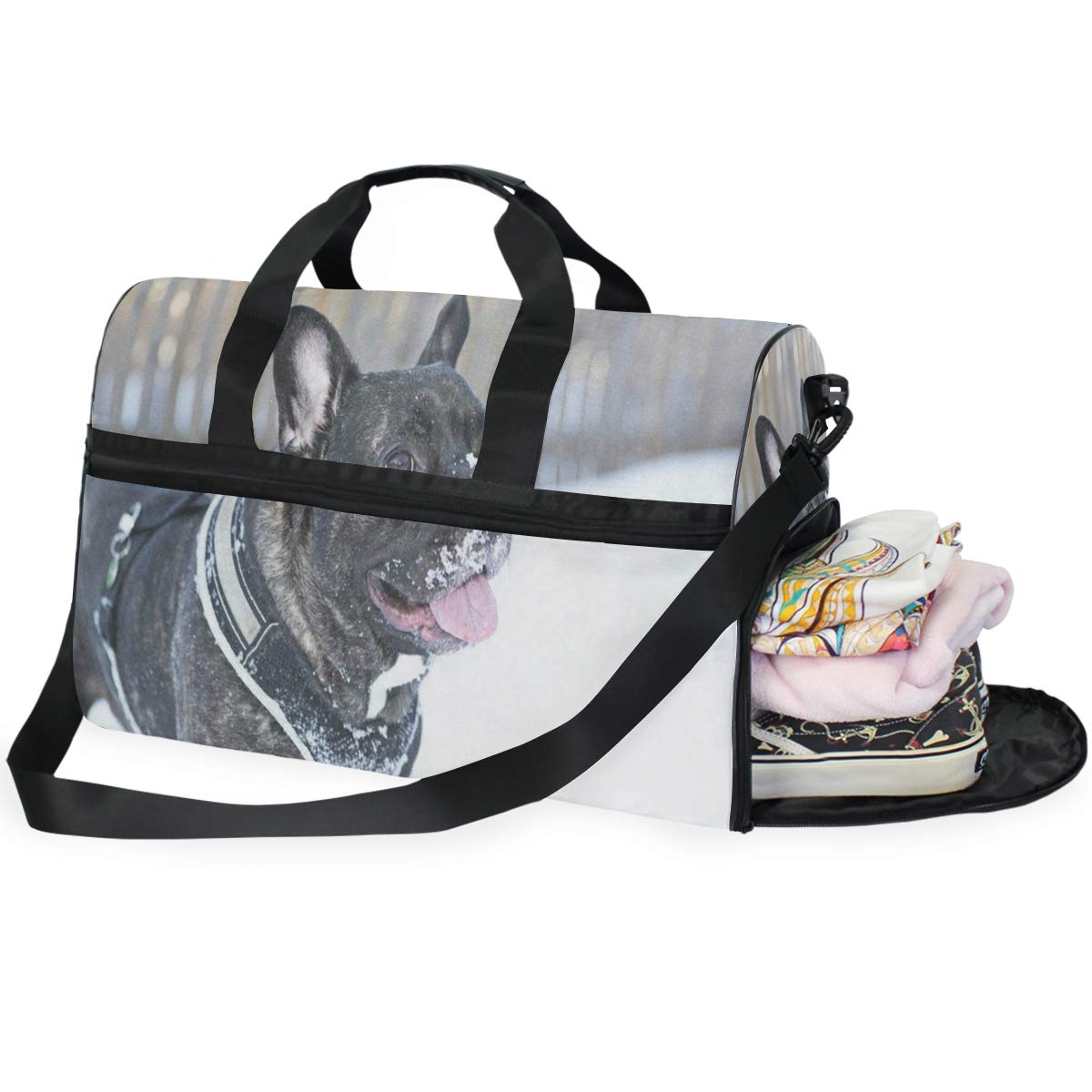 Travel Tote Luggage Weekender Duffle Bag French Buldog Large Canvas shoulder bag with Shoe Compartment