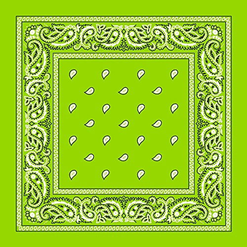 "(Large 100% Cotton Paisley Bandanas (22"" x 22"") - Lime Green Single Piece 22x22 - Use For Handkerchief, Headband, Cowboy Party, Wristband, Head Scarf - Double Sided)"