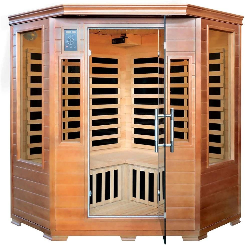 3-Person Hemlock Corner Infrared Sauna with 7 Carbon Heaters
