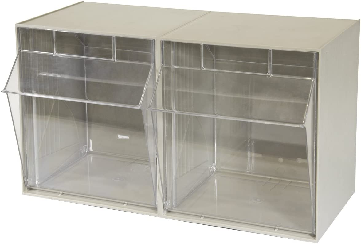 Akro-Mils 06702 TiltView Horizontal Plastic Storage System with Two Tilt Out Bins , 23-5 8-Inch Wide by 14-Inch High by 12-5 16-Inch Deep, Stone