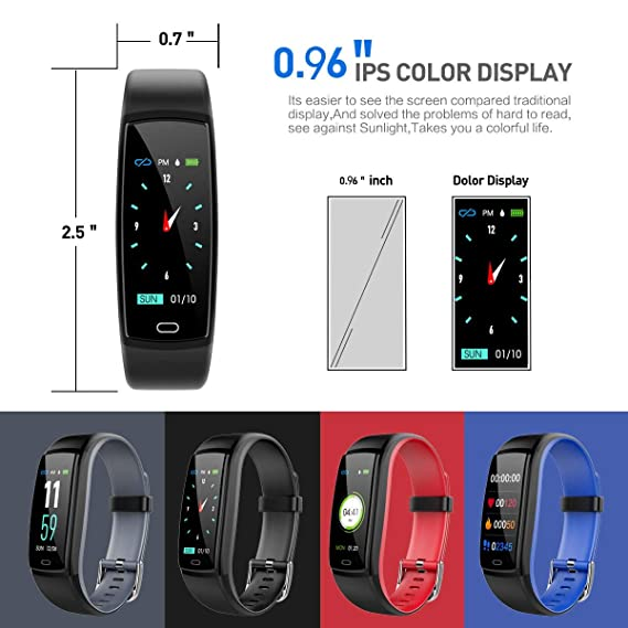 Amazon.com : TOOGOO Y9 Color Screen Smart Bracelet Fitness Tracker Heart Rate Blood Pressure Monitoring Two-Color Strap Monitoring Dial Fashionable Big ...