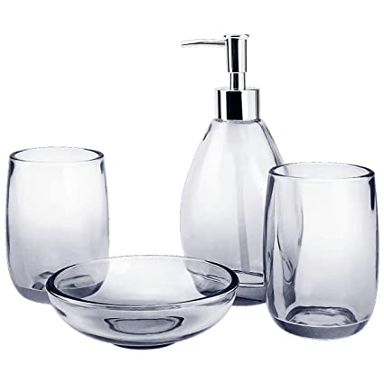Amazon Com 4 Piece Housewares Clear Glass Bathroom Accessories Set