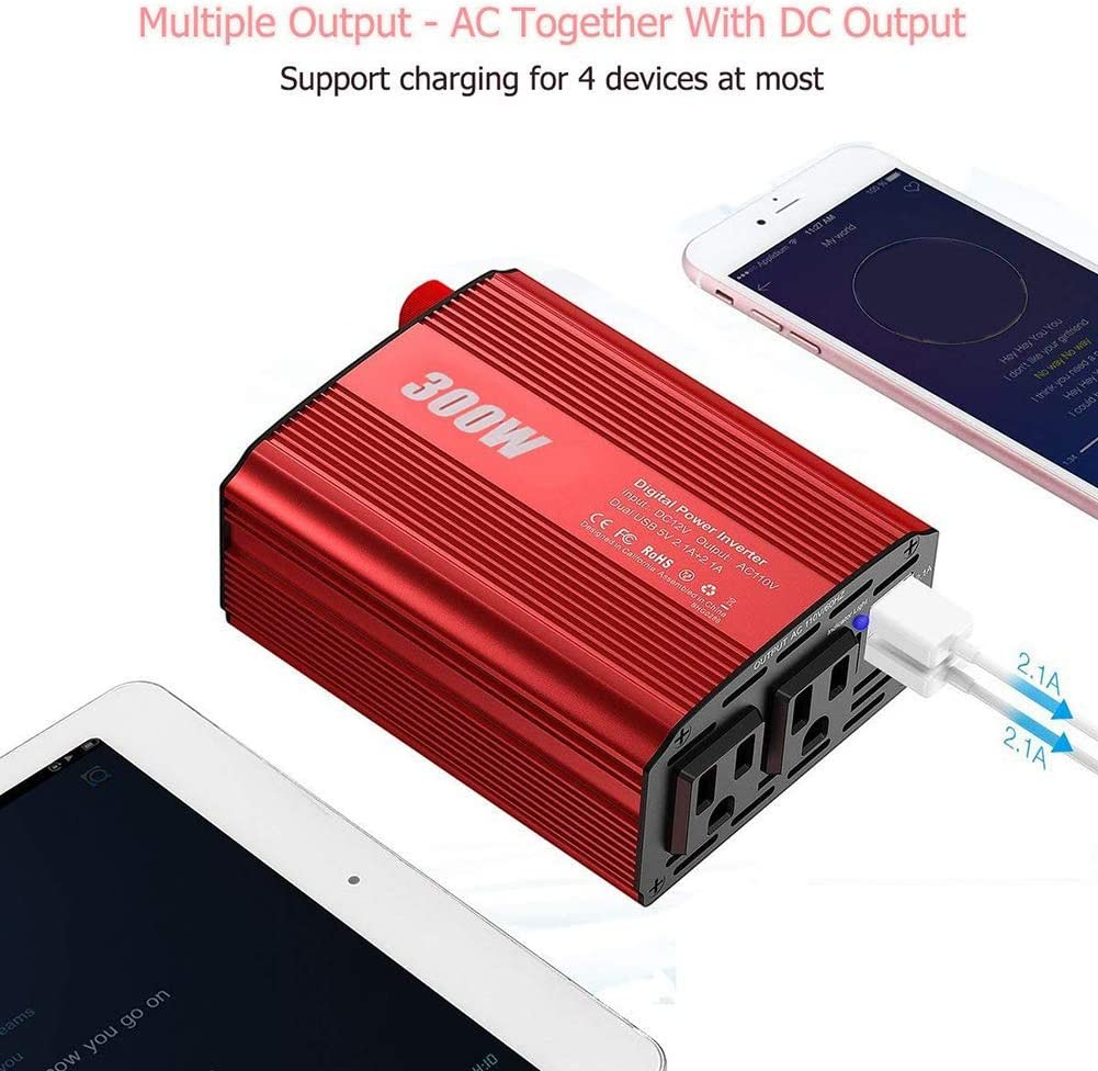 ACHICOO 300W Power Inverter DC 12V to 110V AC Car Converter with 4.2A Dual USB Car Adapter for Smartphones Laptop Breast Pump