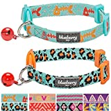 Blueberry Pet Pack of 2 Cat Collars - Hunting Expedition with Fish Bone and Leopard Print Adjustable Breakaway Cat Collar with Bell - Neck 9