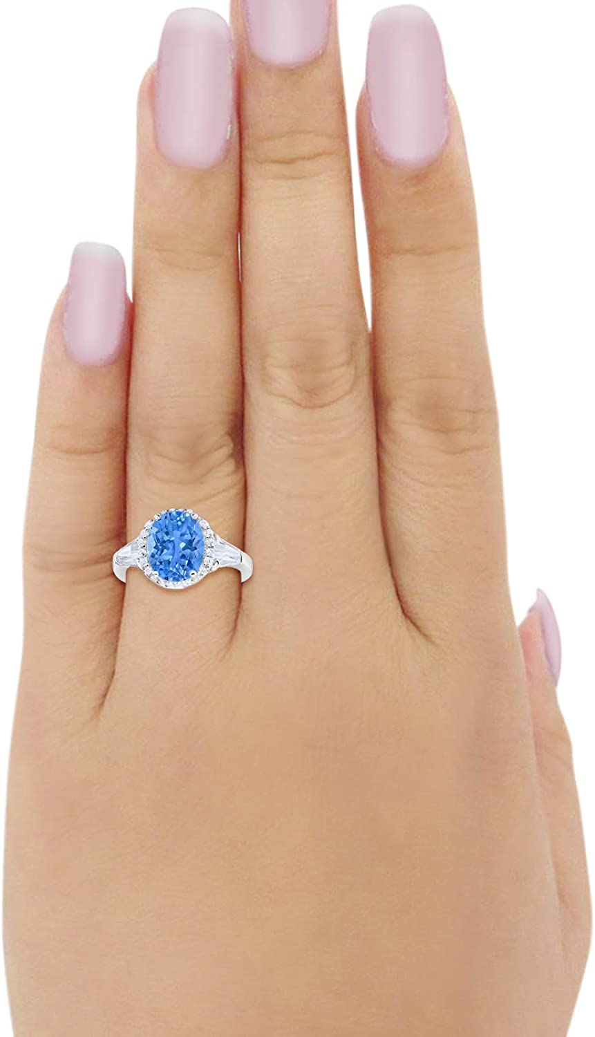 Halo Art Deco Oval Wedding Engagement Ring Round Baguette Cubic Zirconia 925 Sterling Silver Blue Apple Co