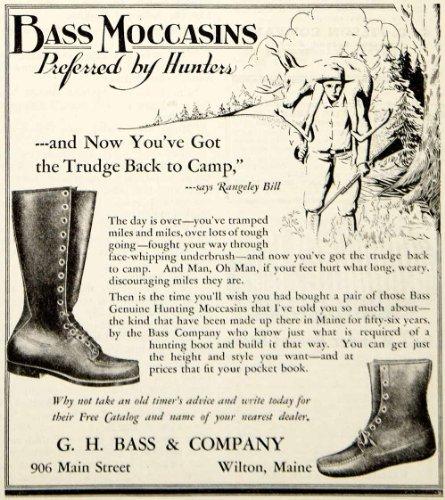 1931 Ad GH Bass Moccasins Boot Shoes Clothing Hunting Sportsman Fashion Footwear - Original Print Ad