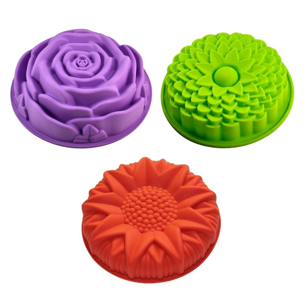 Sharlity 3 Pack Non-Stick Flower Shape Silicone Cake Bread Pie Flan Tart Molds Large Round Sunflower Chrysanthemum Rose Shape Baking Trays for Birthday Party DIY by Sharlity