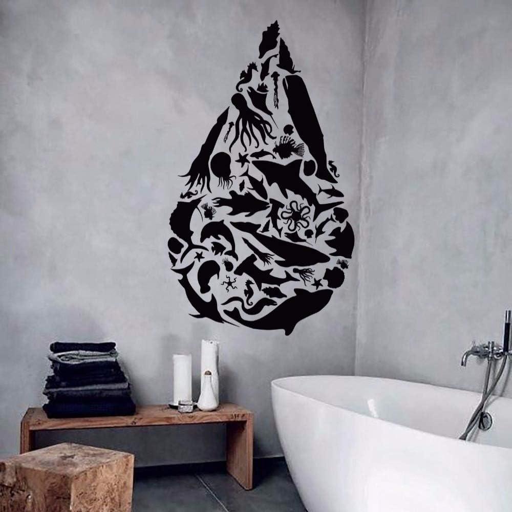 jiushixw Etiqueta de la Pared de Vinilo Forma de Gota Océano Mar Animales Etiqueta de la Pared Peces Arte del Pulpo Etiqueta de la Pared de Vinilo Decoración del baño A 57x94cm:
