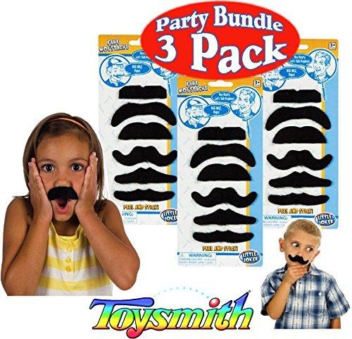 Toysmith Peel & Stick Fake Fuzzy Mustaches (Moustaches)