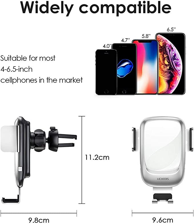 Pondecy Black QI 10W Wireless Car Fast Charger Holder
