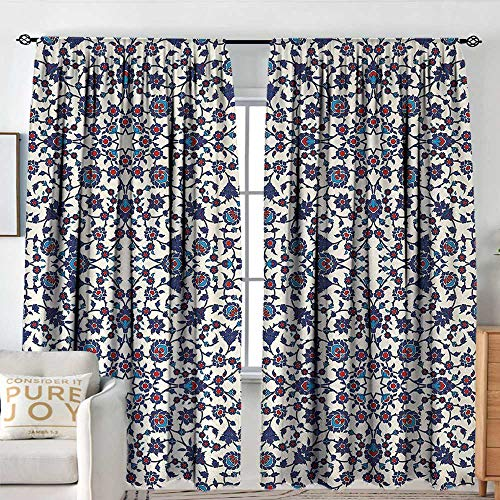 Rod Pocket Curtains Arabesque,Moroccan Floral Pattern with Victorian Rococo Baroque Oriental Design,Cream Indigo Red Blue,for Room Darkening Panels for Living Room, Bedroom 54