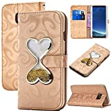 Galaxy S8 Plus Purse Case for Women,Auker Sparkle Flowing Sand Hourglass Timer Magnetic Flip Flop Vintage Leather Wallet Case with Card Holder/Strap&Cash Pocket for Samsung Galaxy S8 Plus (Gold)