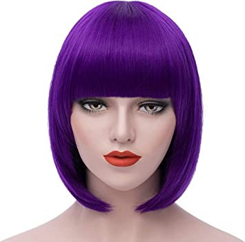 11/'/' Short Straight Cut with Long Bangs Lavender Purple Cosplay Wig NEW