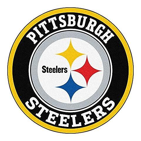 FANMATS 17972 NFL Pittsburgh Steelers Roundel Mat - Pittsburgh Steelers Logo Nylon
