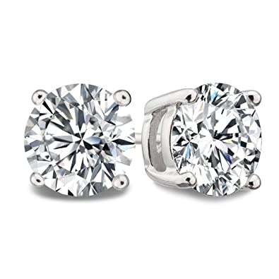 bc3794d87 OREOLLE 925 Sterling Silver Round Clear Cut Cubic Zirconia CZ Stud Earrings  (7mm)