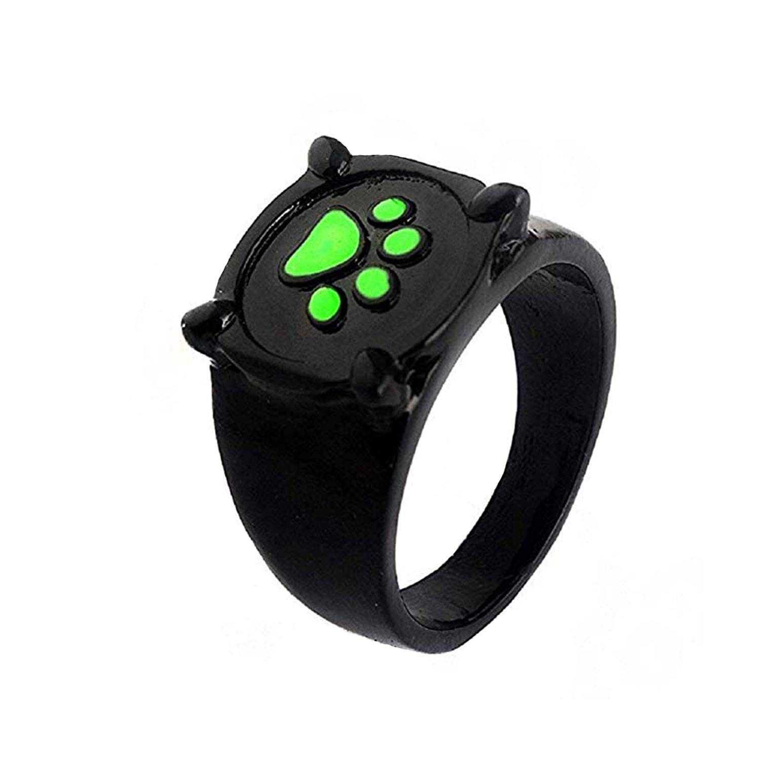 Cat Noir Ring Costume Neclace Halloween Adult-Deluxe Zinc Alloy Black Green Cat Ring Halloween 0.8 Inches Pendant Necklace