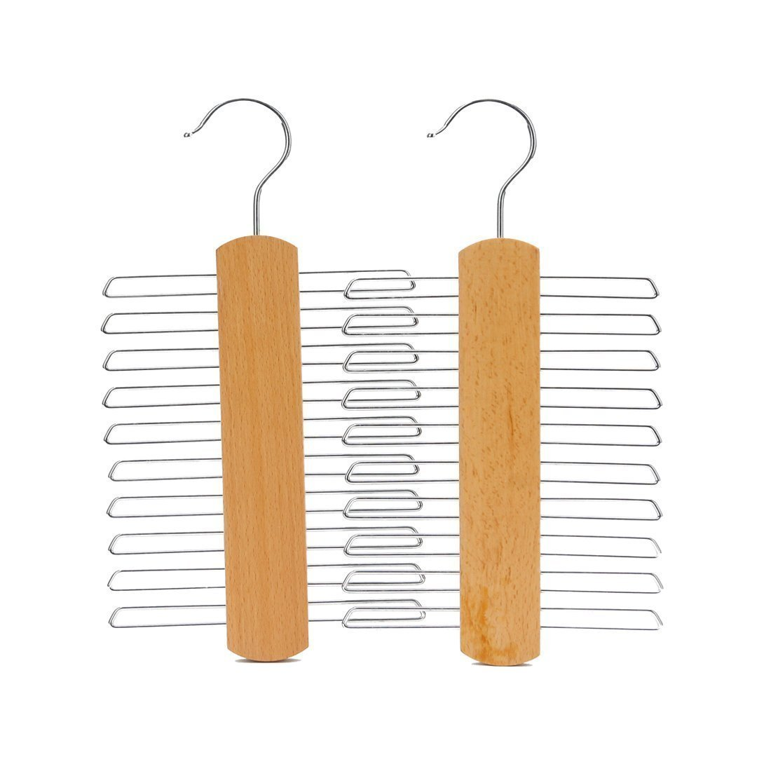 Wood Clothes Hangers for Ties and Accessories with Chrome Details Hanger J.S 2 hangers Beech Wood Tie Hangers for 20 Ties or Belts