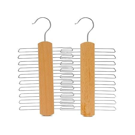 J.S. Hanger Perchas de madera auténtica y natural para 20 corbatas ...