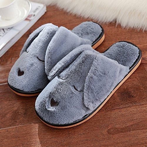 Aemember Otoño zapatillas de algodón, amantes femeninos, suela gruesa, Interior invierno zapatos, zapatillas de casa,44-45 (adecuado para 43-44), Gris 44-45 (suitable for 43-44)|gray