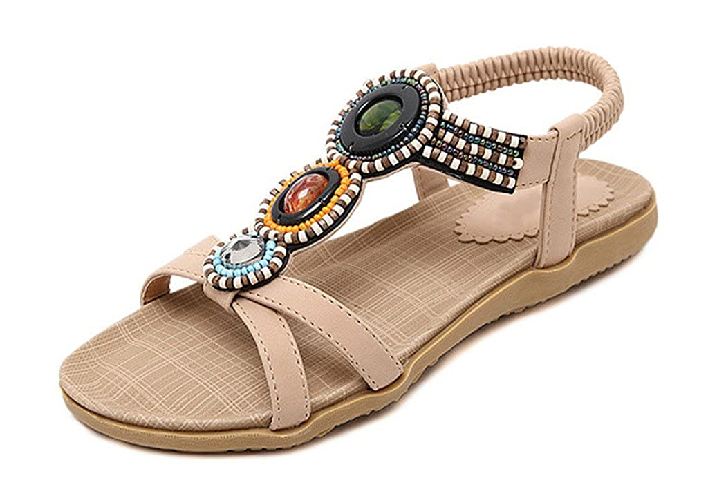 CAMSSOO Womens Summer Bohemia Colorful Bead Sandals Shoes