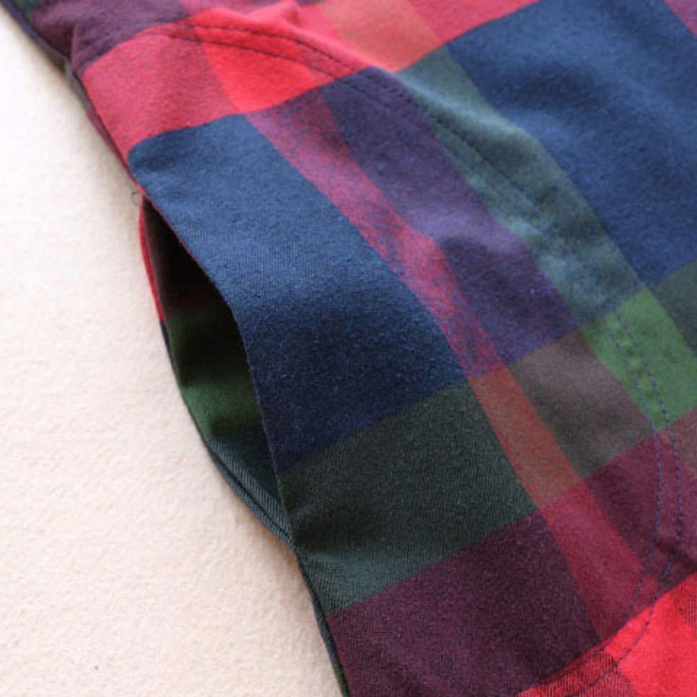 Longra T-Shirt a Maniche Lunghe da Donna Abito Vintage Plaid Stampa Felpa Girocollo Oversize Pullover Swing Dress Tank Top Sweatshirt Maniche Lunghe Vestiti con Tasca