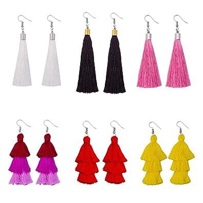 f8995e28b Colorful Layered Tassel Earrings set for Women Long Statement Tassel  Bohemian Tiered Gifts for Women 6