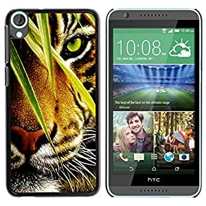 Qstar Arte & diseño plástico duro Fundas Cover Cubre Hard Case Cover para HTC Desire 820 ( Tiger Jungle Forest Rainforest Eye Feline)