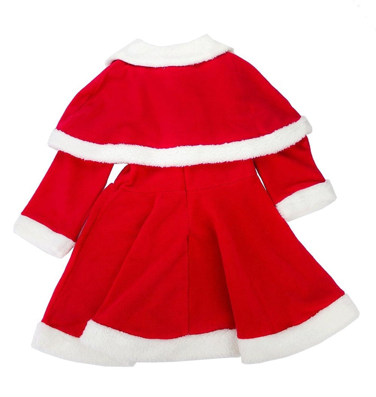 Amazoncom 3 Pc Girl Christmas Santa Claus Dress With Cloak And