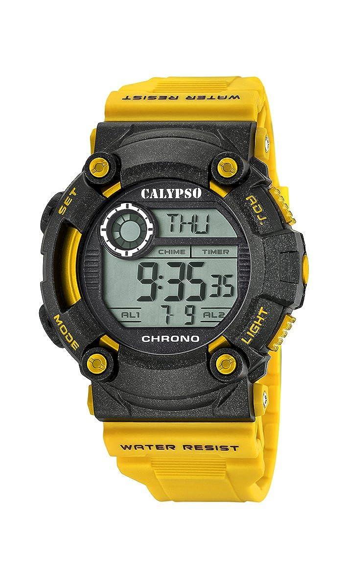 Calypso Hombre Reloj Digital con Pantalla LCD Pantalla Digital Dial y Correa de plástico de Color Amarillo k5694/1