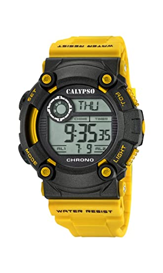 Calypso Hombre Reloj Digital con Pantalla LCD Pantalla Digital Dial y Correa de plástico de Color