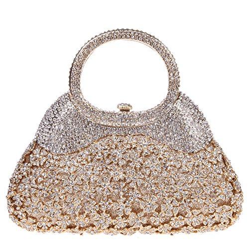 Clutch Fawziya Bag manico Crystal Size Clutch Purse Mini con Gold Evening d6SxZr6qw