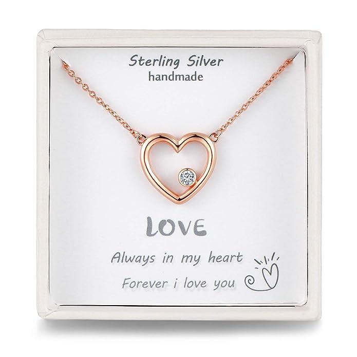 Qings Collar Mujer Plata Fina 92.5% Pura Colgante Corazón Brillante 5A Circonita Cúbica Color Plata/Oro Rosa Cadena 45cm con Elegante Caja Regalos