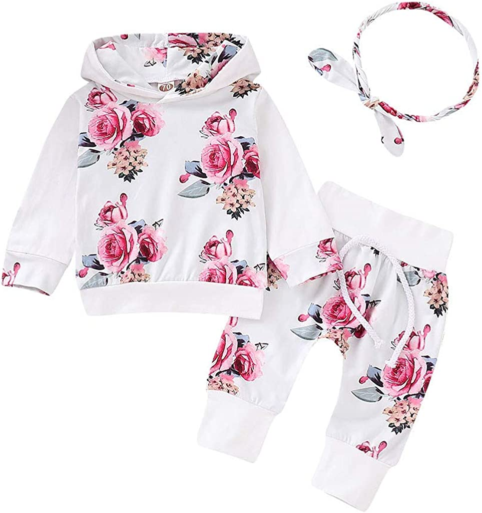 Newborn Baby Girl Sweater Hoodies+Pants Outfits Floral Toddler Clothes Tracksuit