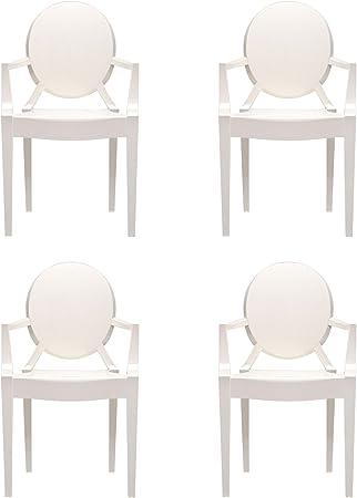 Louis Ghost Kit de 4 fauteuils blancopaquebrillant
