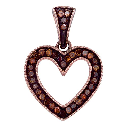 Sonia Jewels 10K Rose Gold Prong Set Chocolate Brown Heart Diamond Pendant Charm 1 10 cttw.