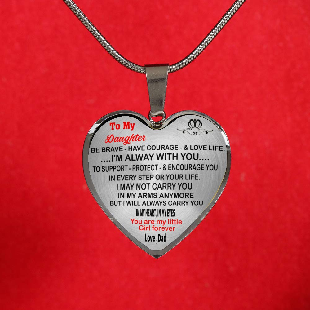 WOLMUG to My Daughter Necklace Best Gift for Daughter from Daddy Sliver Heart Pendant