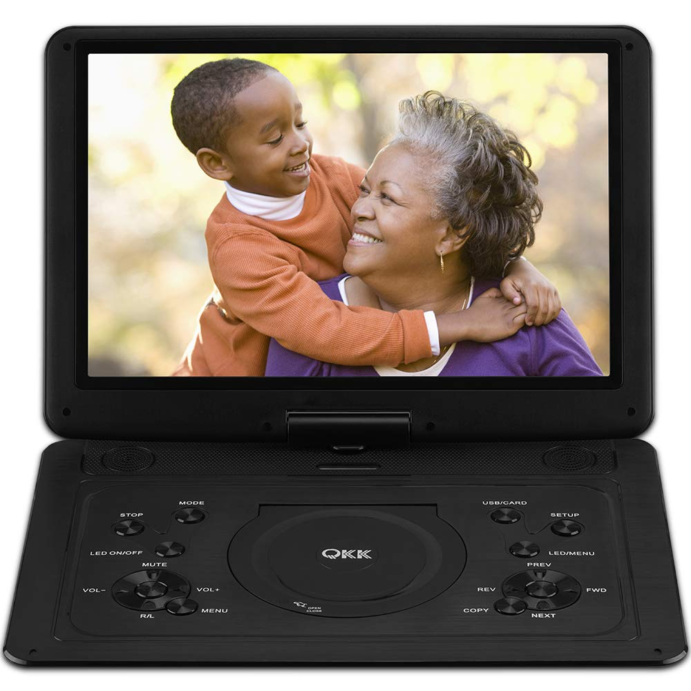 QKK 17.9 Inch HD DVD Player with AV Cable to Sync TV, Home CD Player with 15.4'' Swivel Screen and 6 Hours Build-in Rechargeable Battery, Portable Region Free Kids Mini TV, Black