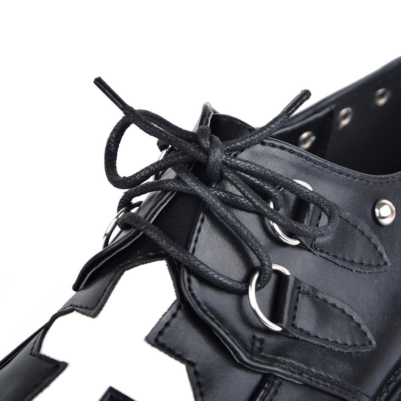 RoseG Mujer Zapatos Plataforma Punk Creepers Cordones Latin Cross Negro Size39 Wvydxo7