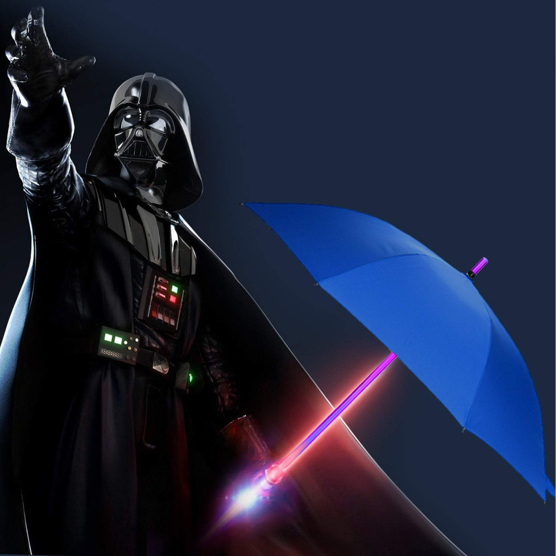 Sabre Laser /à Laser Parapluie /à LED Black Parapluie avec 7 Couleurs et Lampe de Poche int/égr/ée