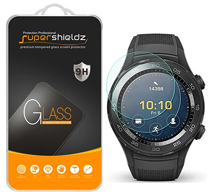 Supershieldz [2-Pack] for Huawei Watch 2 / Huawei Watch 2 Classic Tempered Glass Screen Protector, (Full Screen Coverage) Anti-Scratch, ...